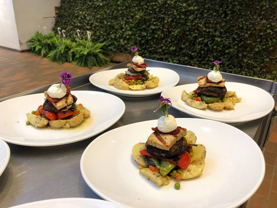 Grilled Vegetable Tower with Portobello Mushroom, Tofu & Goat Cheese