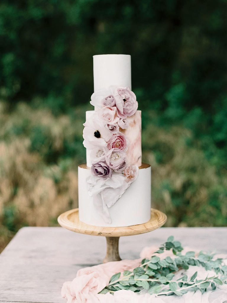 Hand Painted Petals Wedding Cake