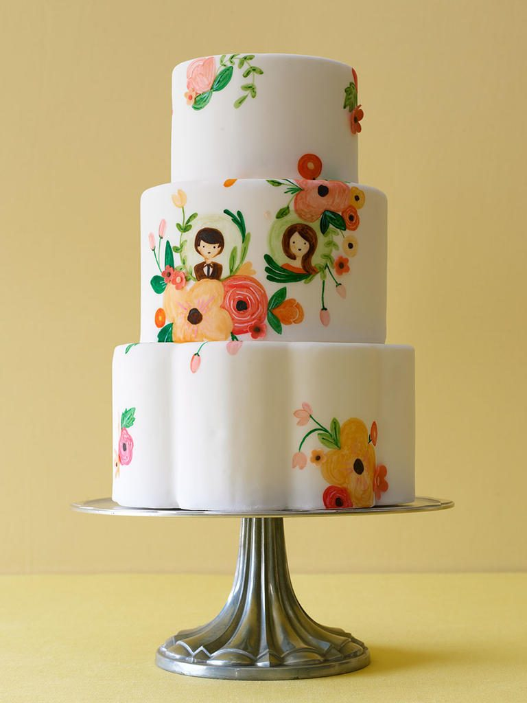 Hand Painted Wedding Cake